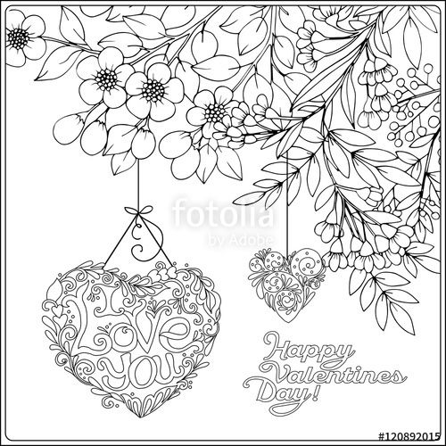 Vector: Decorative Love heart and vintage flowers card for ...