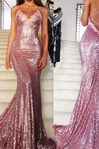 96de1b5e8267 Prom Dress Prom Dresses Prom Dress Mermaid Long Rose Pink Prom Party  Dresses Sequins Spaghetti Strap Evening Gowns