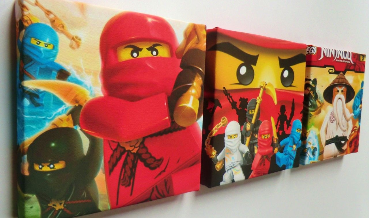 Room 2 Build Bedroom Kids Lego: 3 X Deep Edge Box Canvas Pictures Made With Lego Ninjago