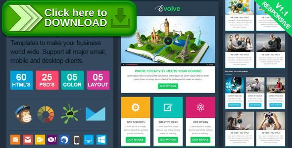 Free nulled Evolve - Professional Responsive Email Template download ...