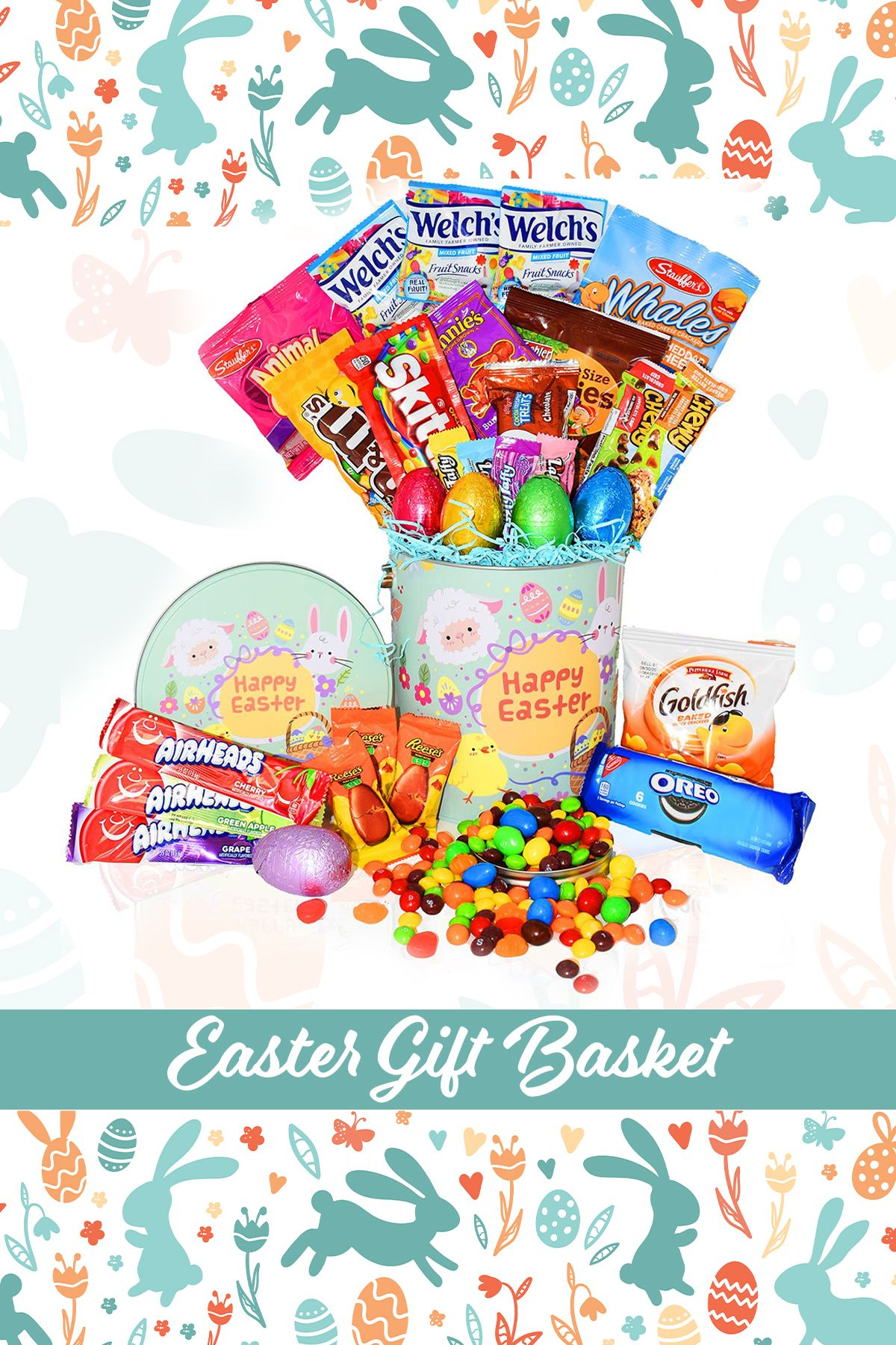Happy easter gift box in green tin full of your favorite