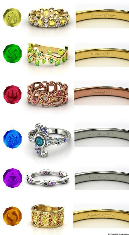 "Classified under ""Gaming OMG"":  Zelda 'Ocarina of Time' Sage engagement rings!| Rauru, Saria, Daruni, Princess, Ruto, Impa, Nabooru | (made on gemvara.com by steel candy)"