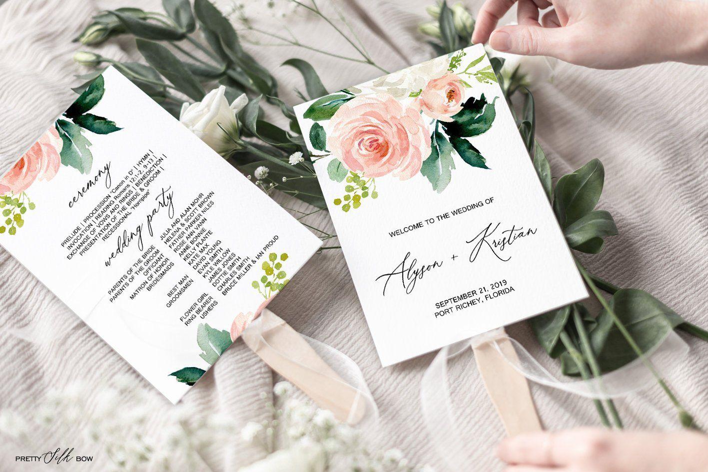 Wedding Program Template, Order of Service, Boho Floral