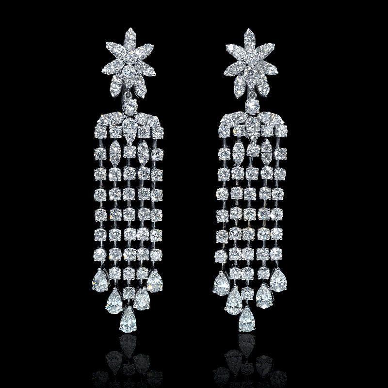 Diamond 18k white gold chandelier earrings luxurious fashion diamond 18k white gold chandelier earrings in jewelry watches fine jewelry fine earrings ebay aloadofball Images