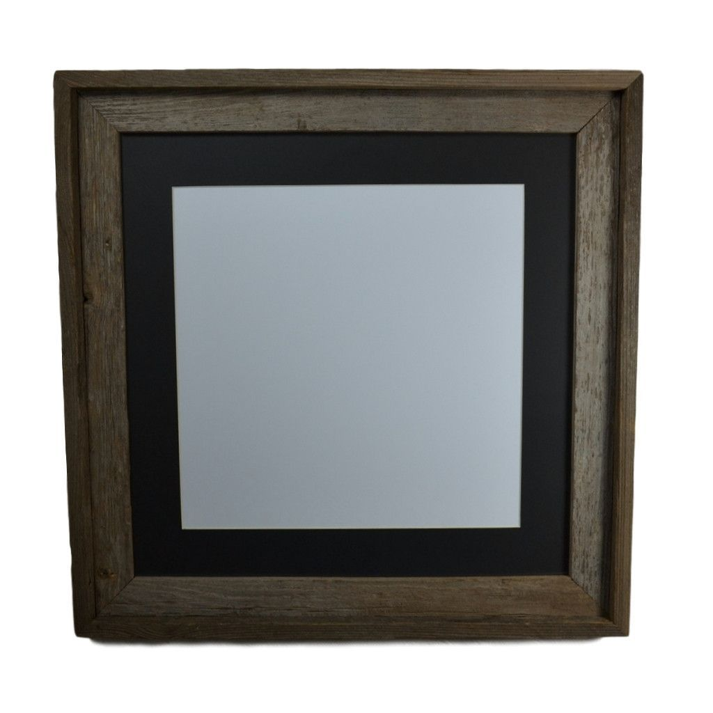 16x16 barnwood picture frame with black mat for 12x12,11x11,11x14 ...