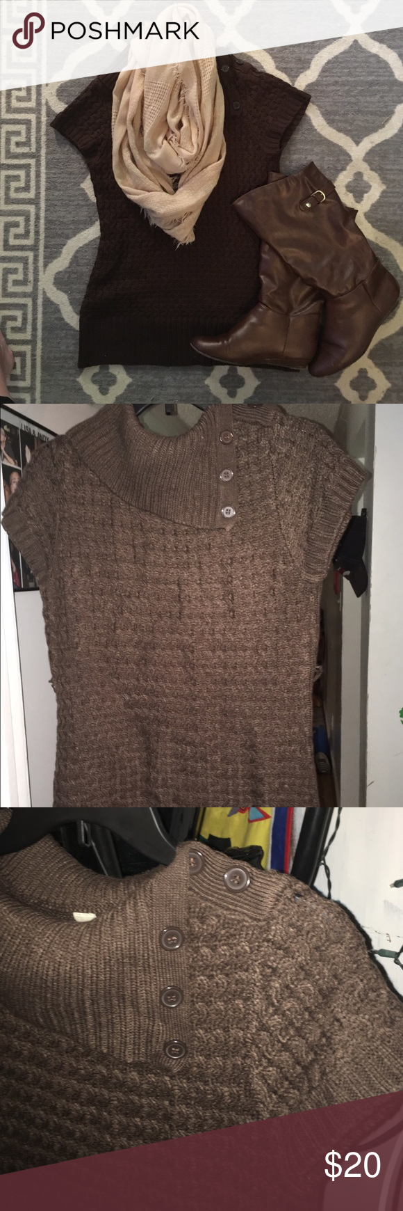 💋cute brown sweater nwt | Brown shorts, Short sleeves and Brown