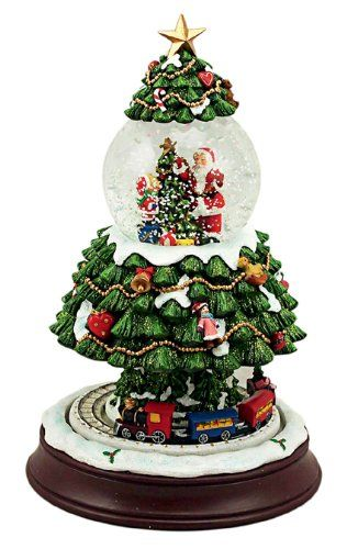 Musicbox Kingdom 53119 Christmas Tree In A Globe Music Box Turns To 8 Different Christmas Melodies Music Christmas Snow Globes Snow Globes Winter Snow Globe