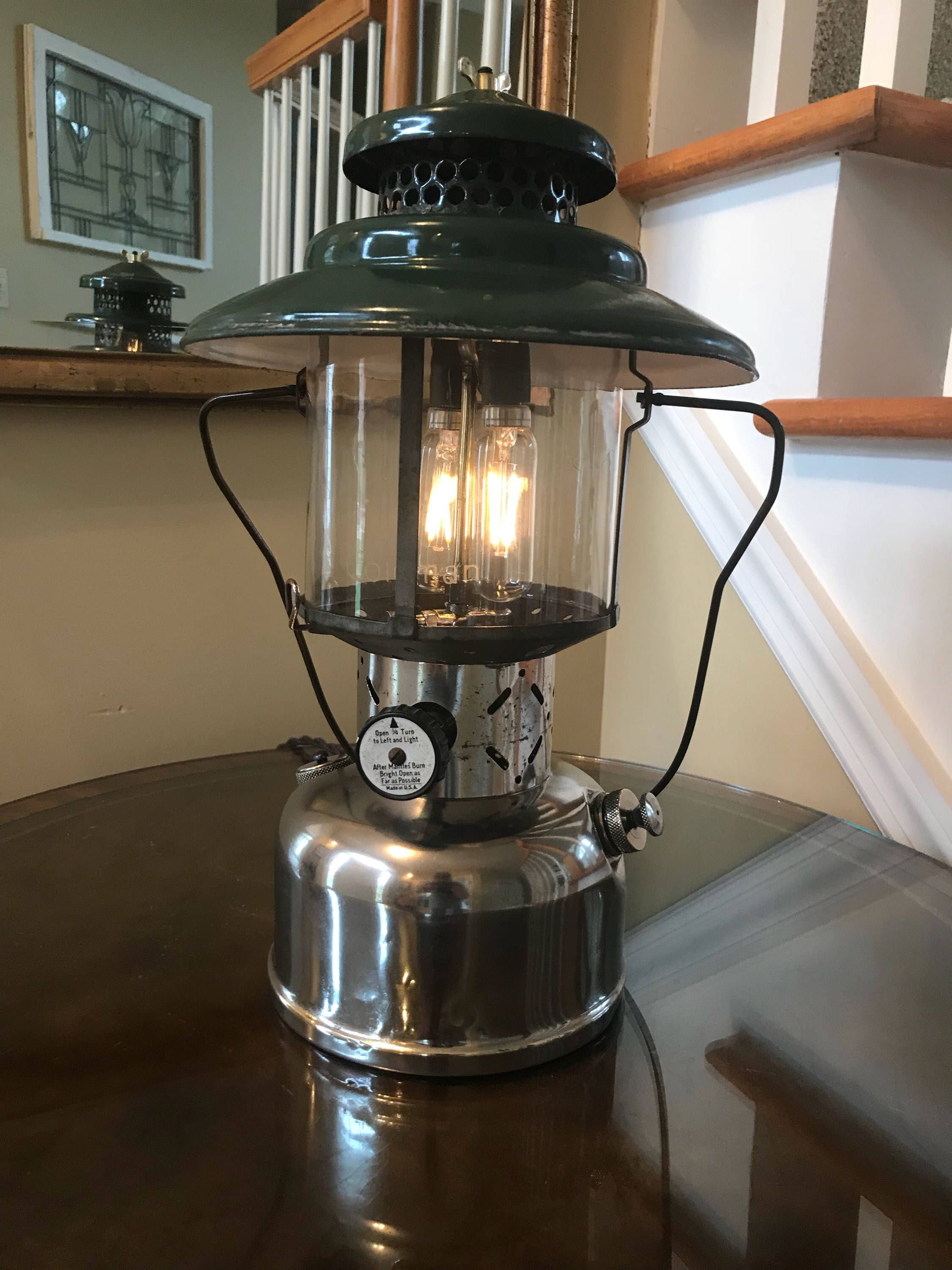 Electric Rustic Coleman Lantern Table Lamp With Touch Dimmer Coleman Lantern Lantern Table Lamp Coleman Lamp