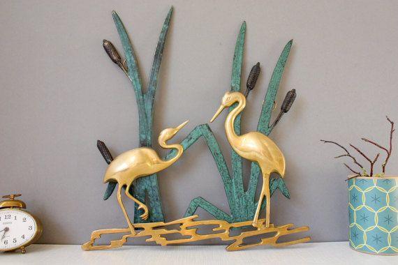 Fresh vintage herons wall hanging plaque cranes birds animals mural metal