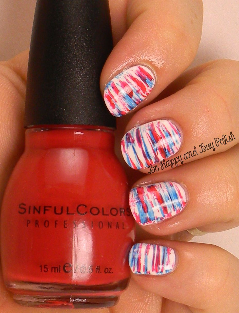 July 4 fan brush nail art | Sinful Colors Snow Me White, Pur Rouge ...