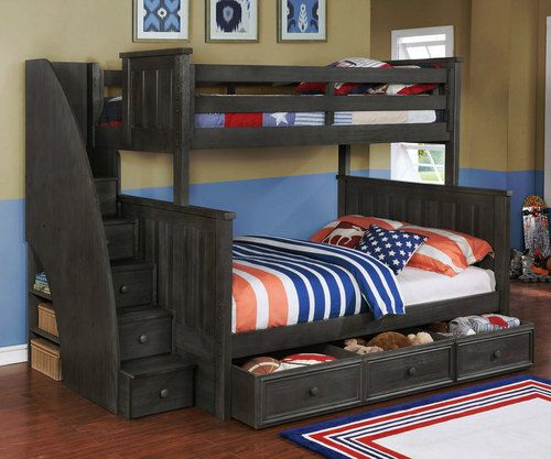 Best Allen House Brandon Twin Over Full Bunk Bed With Stairs 400 x 300