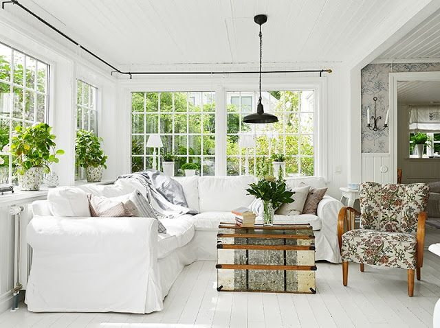 Cottages by the sea · Swedish Design: cottage living room More - Rooms We Love: A Swedish Cottage Sectional Sofas, Hardwood