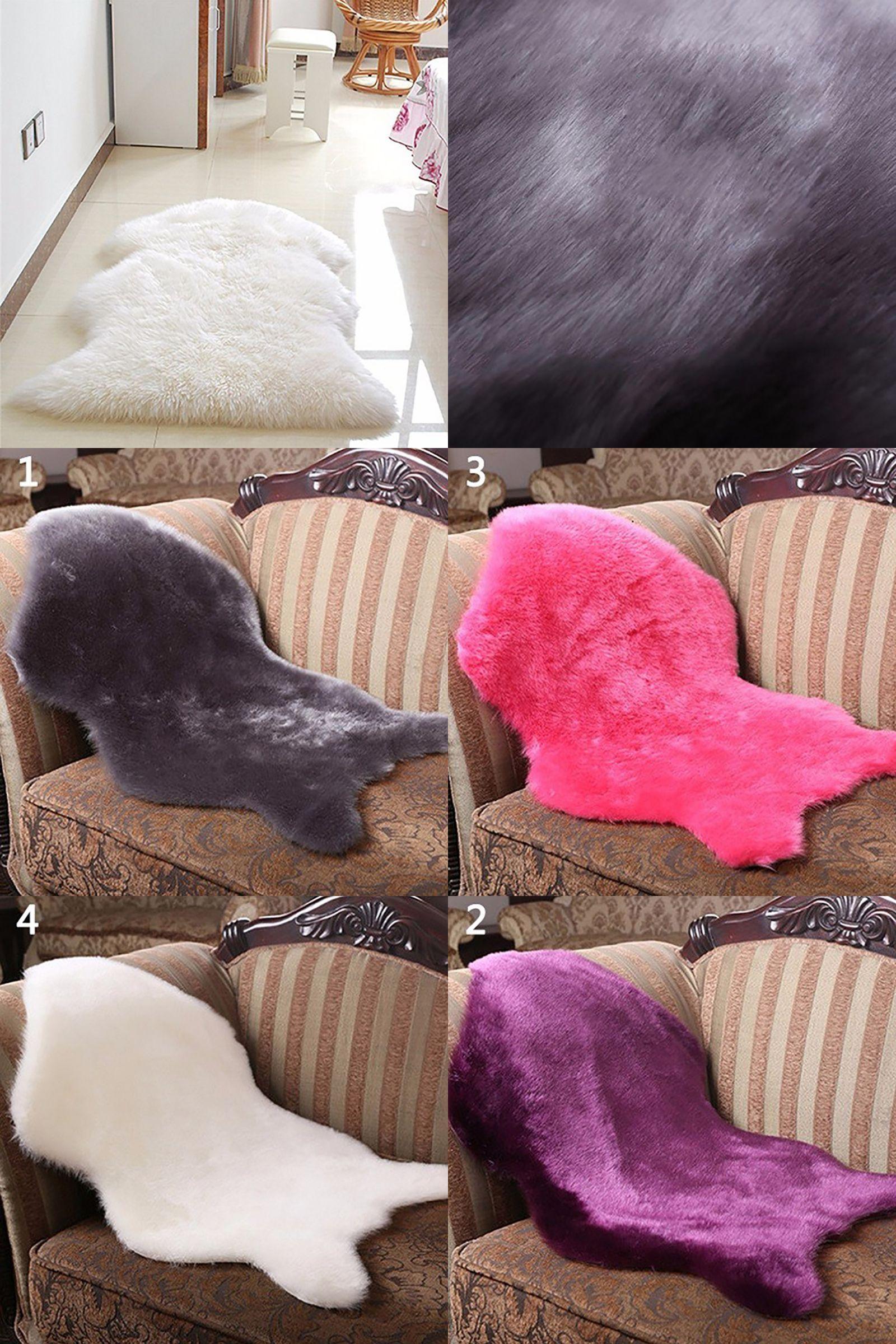 Visit to Buy] Newest Soft Faux Sheepskin Rug Mat Carpet Pad Anti