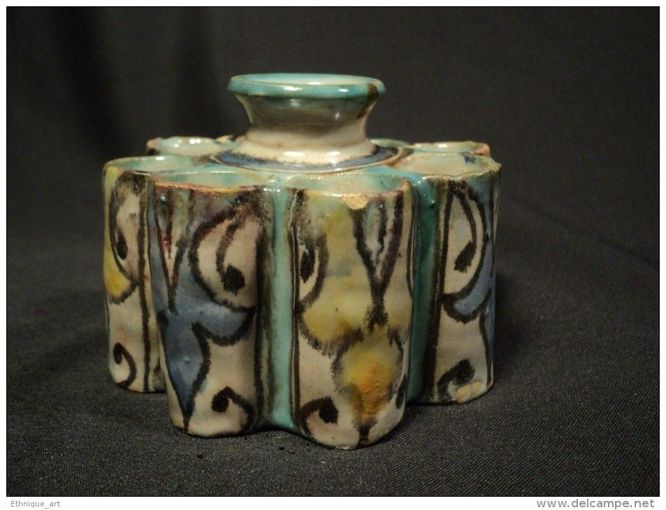 Ancien Encrier d´Enlumineur Maroc faïence Fez Safi céramique Moroccan Pottery