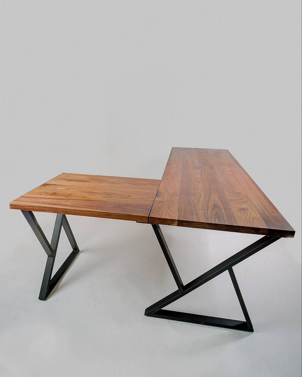 L Desk Walnut Desk Midcentury Modern Metal Base Free Etsy Walnut Desks Wood And Metal Desk Desk Modern Design