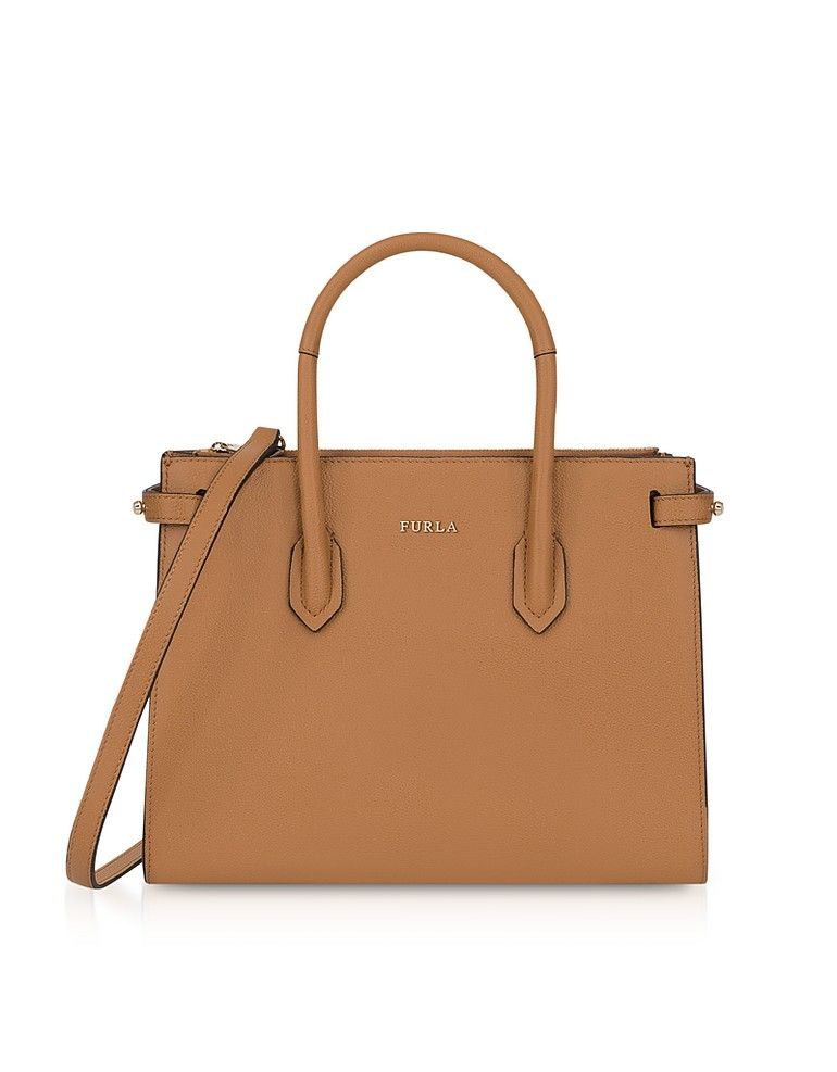 b054608ad188 Large Embossed Crest Leather Tote in Light Camel - Women