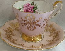 Royal Standard Mauve and Filigree Gold Tea Cup and Saucer Duet
