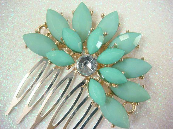 Tiffany blue wedding hair comb / rhinestone bridal by misunbridal, $28.00