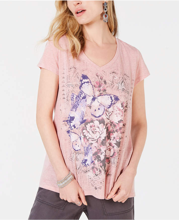 e5d2c9533d9 Style   Co Butterfly Floral-Graphic T-Shirt