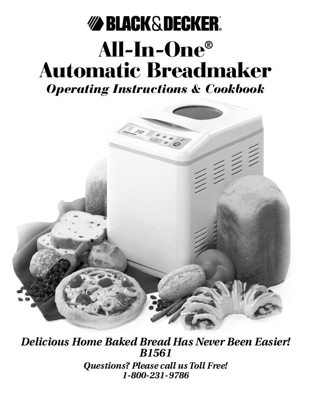 Black Decker Operating Instructions Automatic Breadmaker B1561