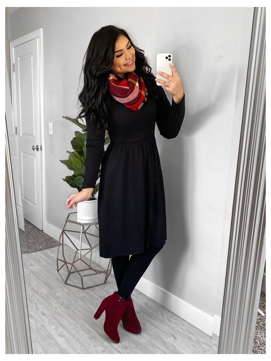Thedarlingstyle Casual Dress Outfits For Church Modest Dress Outfits Black Midi Dress With Sca Winter Dress Outfits Modest Winter Outfits Modest Outfits [ 1248 x 936 Pixel ]