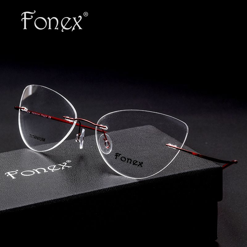 d061a3d730f FONEX No Screw 2017 Cat Eye Rimless Prescription Glasses Frame Women  Titanium Eyeglasses Myopia Optical Frames