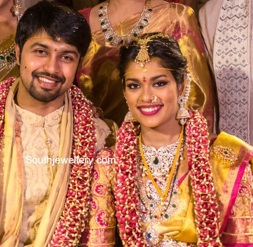 Chiranjeevi Younger Daughter Sreeja Got Married To Kalyan On Monday Sreeja Teamed Up Indian Jewellery Design South Indian Wedding Hairstyles Celebrity Jewelry