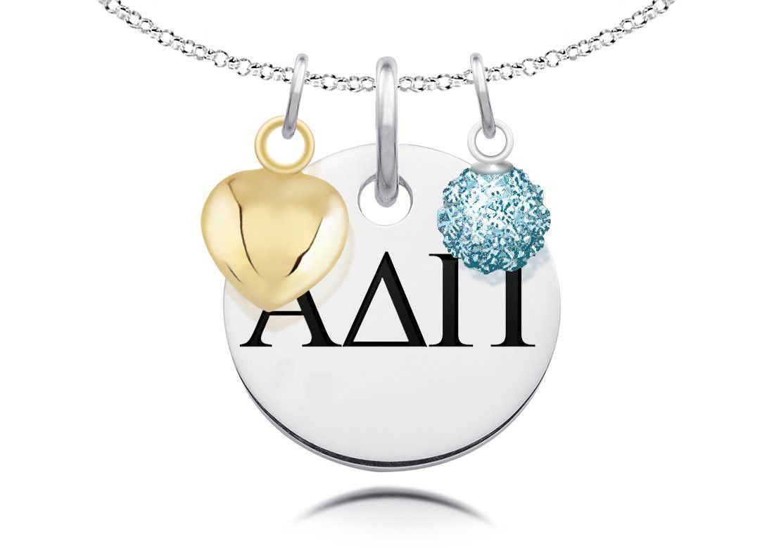 Alpha delta pi greek letters necklace with heart and crystal ball