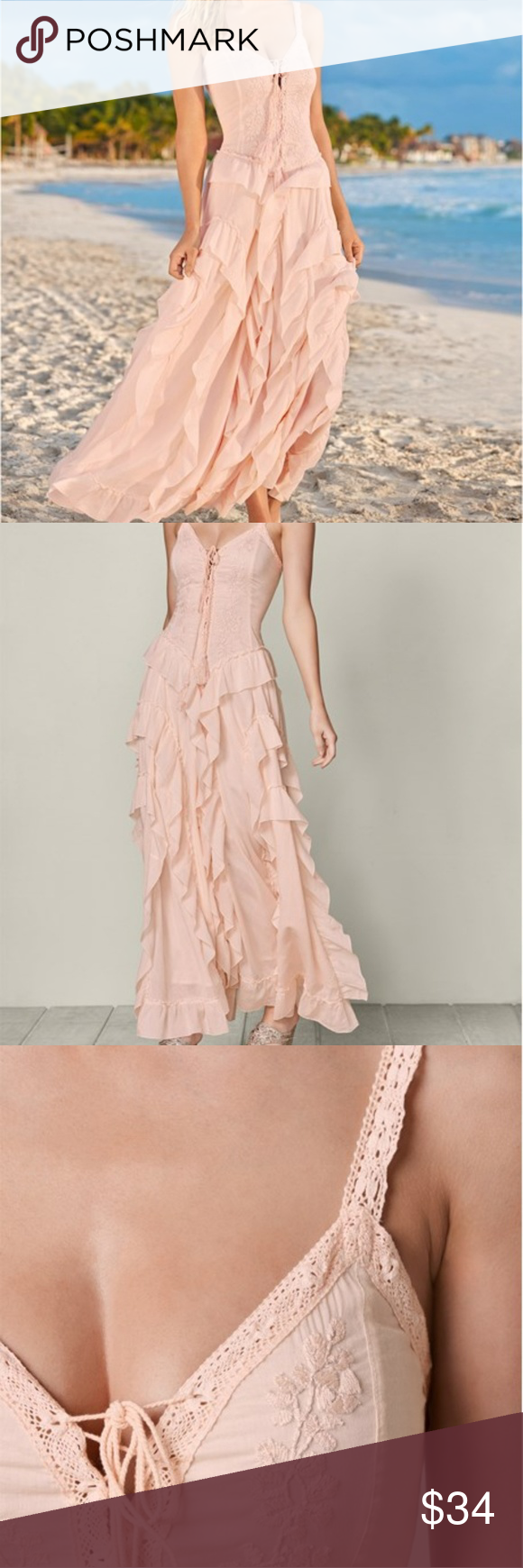 895433bf2d232 Venus provides great quality, beautiful dresses for women. This is a new,  with tags Venus dress, size medium 8/10, lace up, ruffle detail, light pink  maxi ...