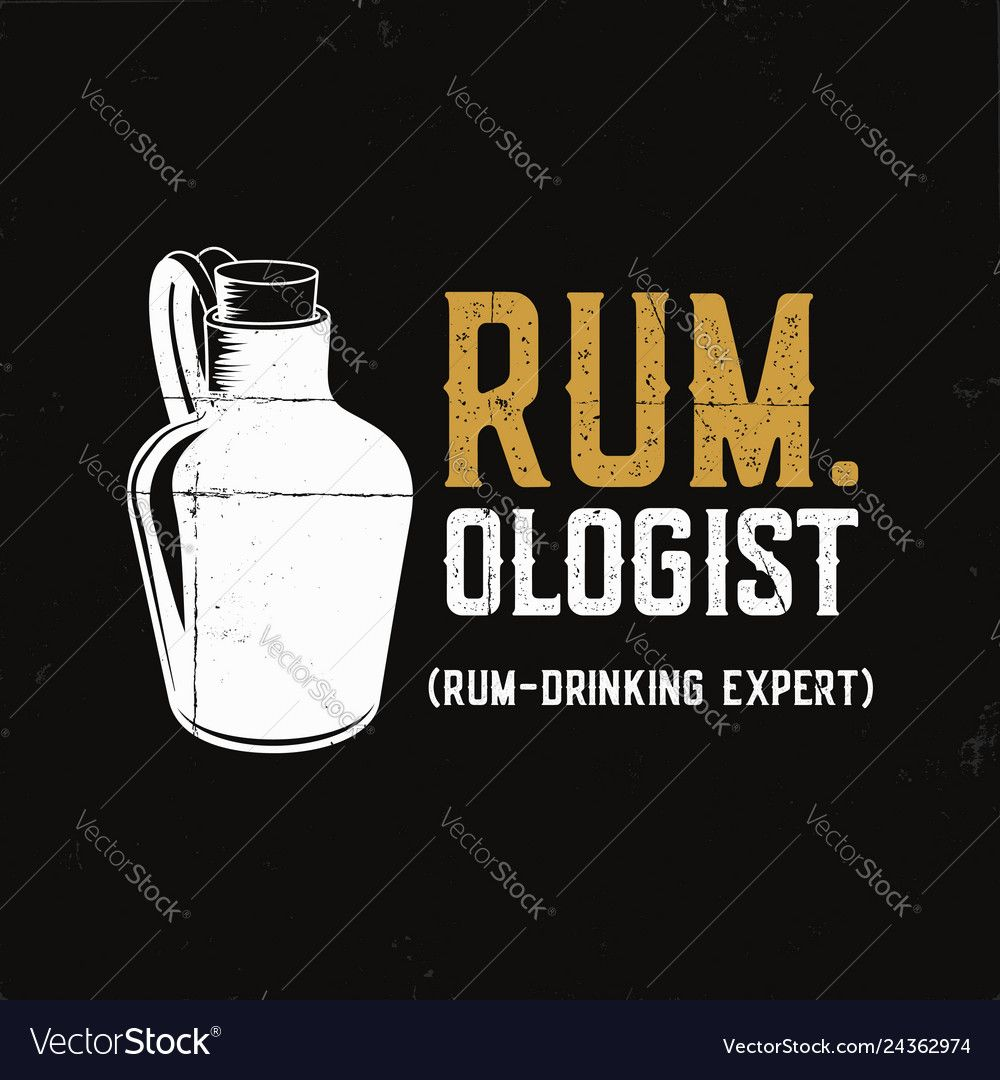 Hand drawn fun rum poster with bottle and quote Vector
