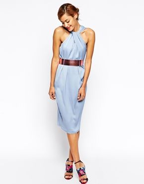ASOS twist front dress with metallic rose belt | WEAR TO A WEDDING ...