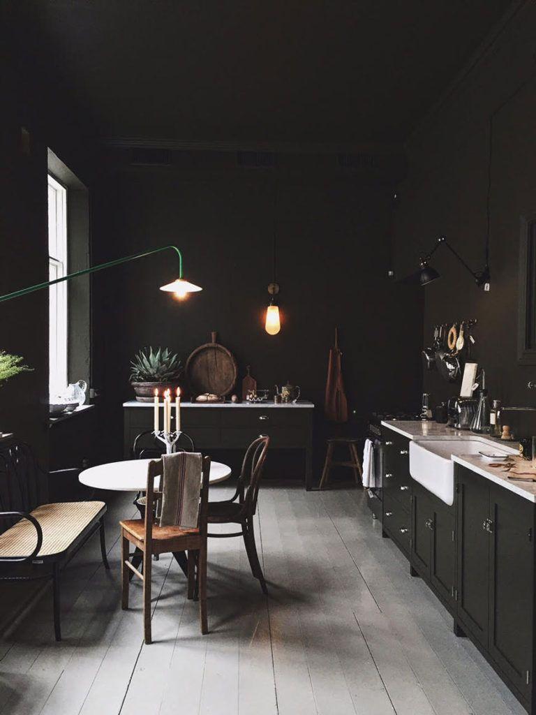 How to use colour in  minimalist home dark green kitchen walls artilleriet copenhagen also best interior images rh pinterest