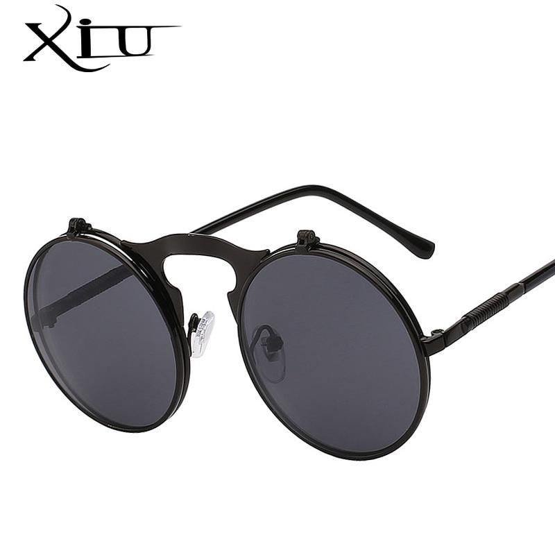 3eac34219009 XIU Flip Up Steampunk Sunglasses Men Round Vintage Mens Sunglass Brand  Designer Fashion Glasses UV400