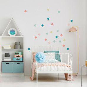 Wandgestaltung im Kinderzimmer mit Wandtattoo Konfetti - Farbe Pastell