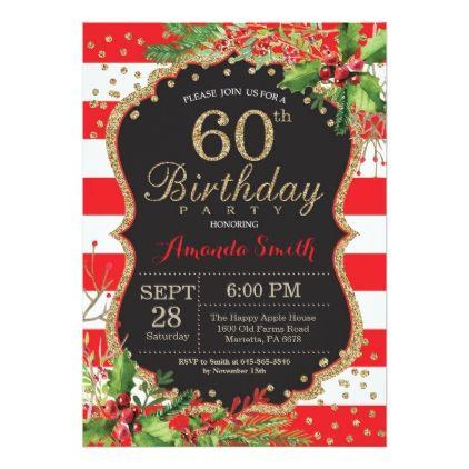 60th birthday invitation christmas red black gold card 60th 60th birthday invitation christmas red black gold card filmwisefo