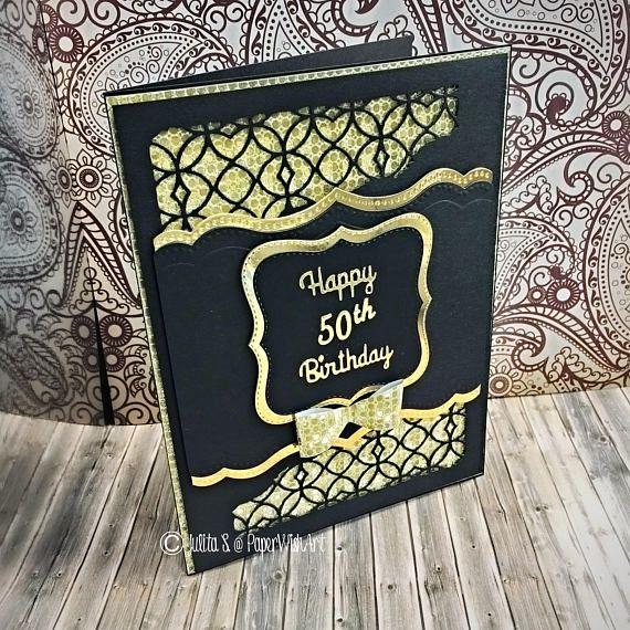 Elegant Masculine Birthday Card Classy Handmade Card In Black And