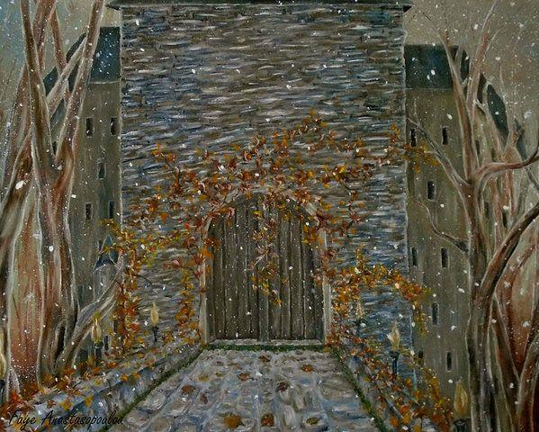 Poster, painting, art, castle, entrance, door, old, building ...