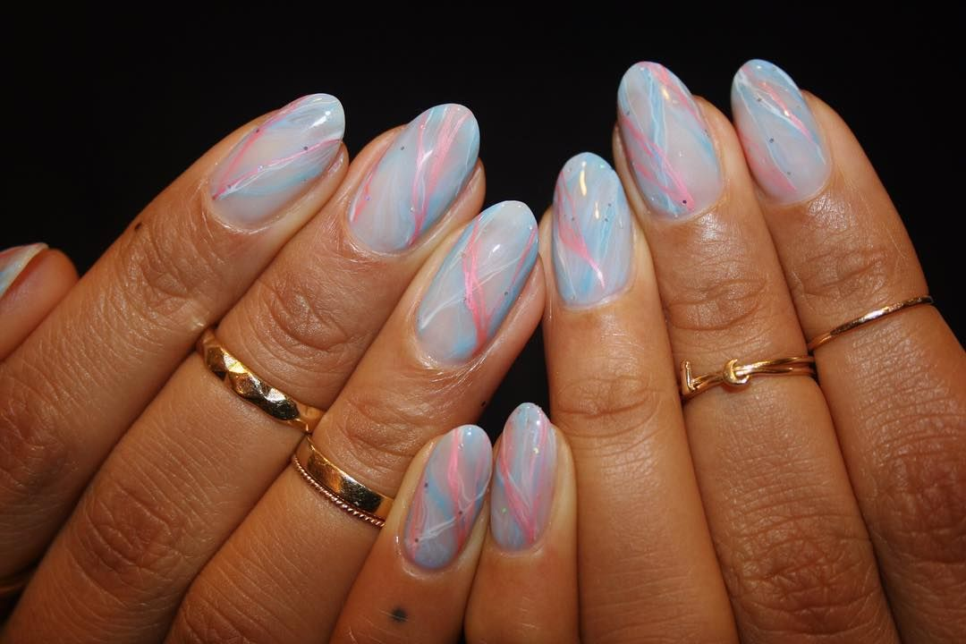 Imarninails On Instagram Gel Nail Art Baby Blue And Pink Marble Marble Nail Designs Marble Nails Gel Nail Art