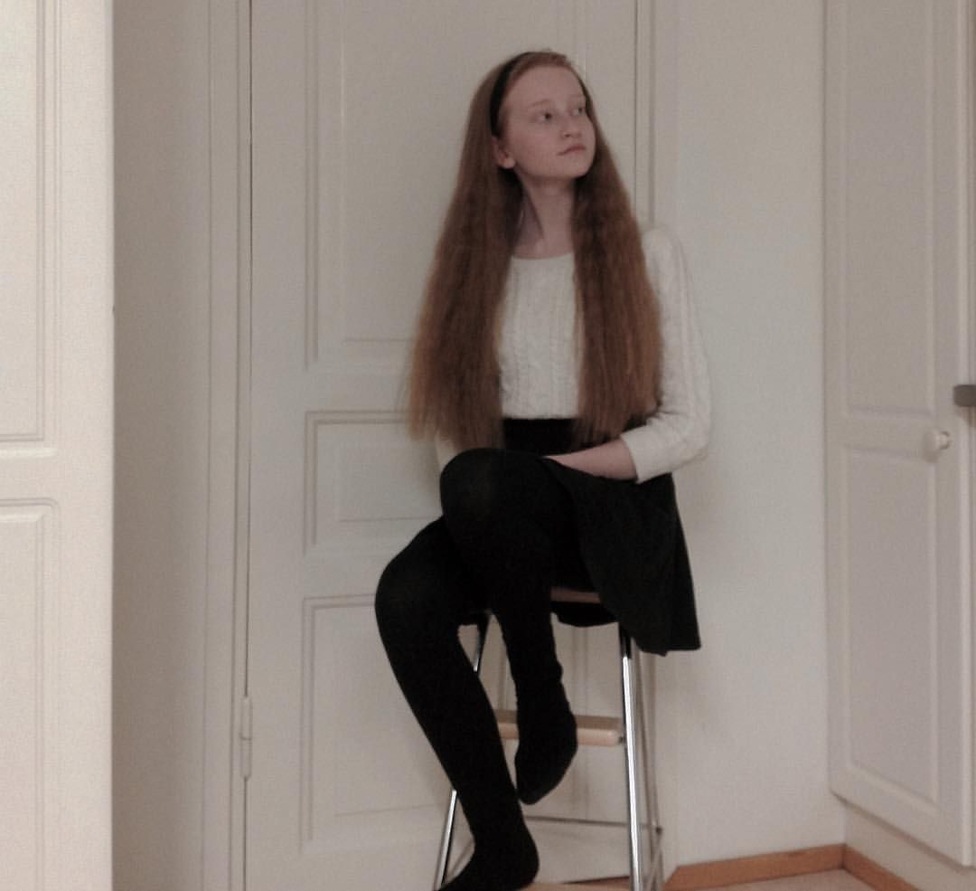 red long hair // skirt // pale // outfit // girl // pale aesthetic