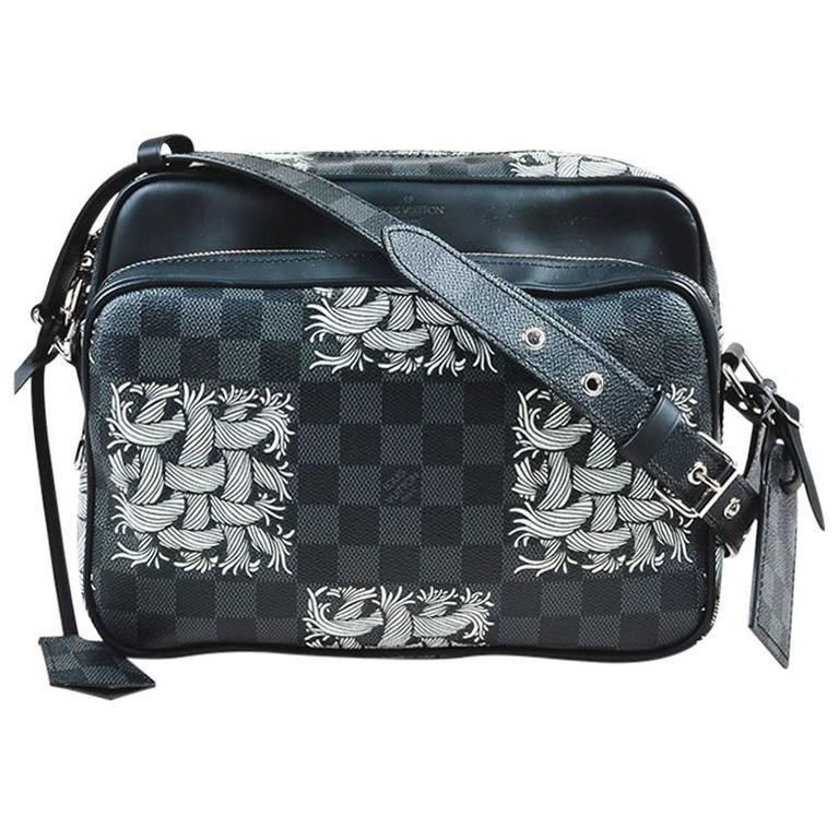 58528fca98fa8 Louis Vuitton Black Coated Canvas Damier Graphite Rope Pattern