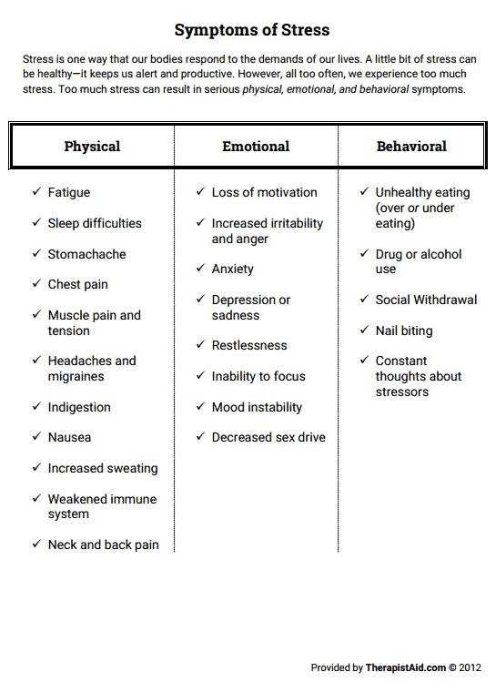 Symptoms of Stress Preview | health | Pinterest | Symptoms of ...
