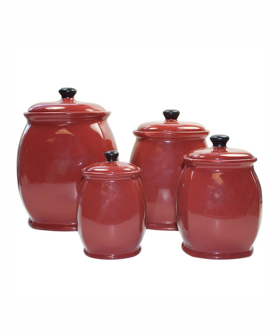 Canister Sets · Another Great Find On #zulily! Jay Import | Hearthstone Red  Corelle Canister Set By