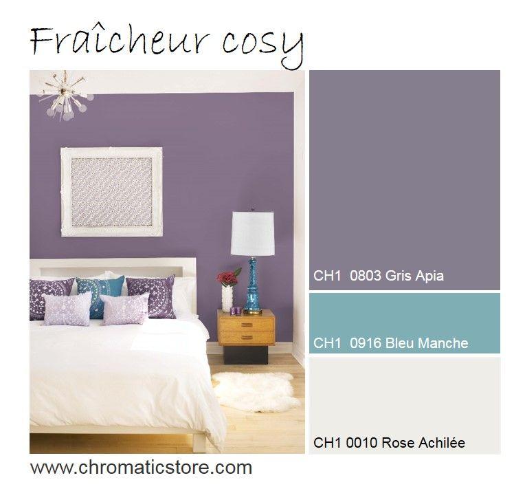 Dans la chambre, un mur violet grisé apportera un souffle de ...