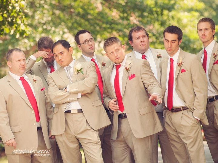 Khaki Suit With Red Tie