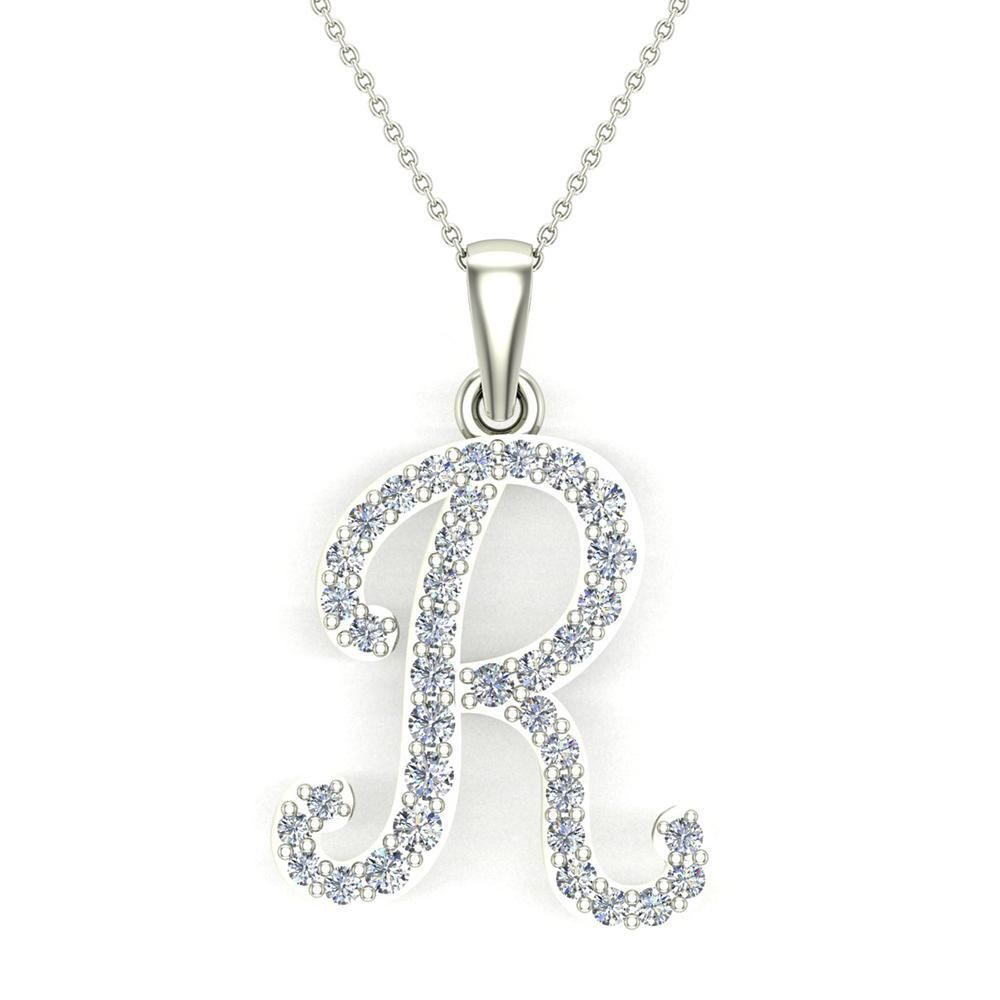 Initial Necklace R Letter charms Diamond pendant necklace
