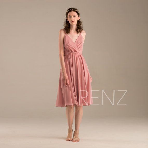 Dusty Rose Bridesmaid Dress, Short Chiffon Wedding Dress, Women ...