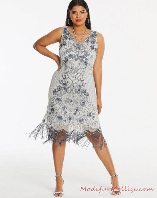 Fransen Kleid mit Perlen Silber - Perfekt großen Größen ...