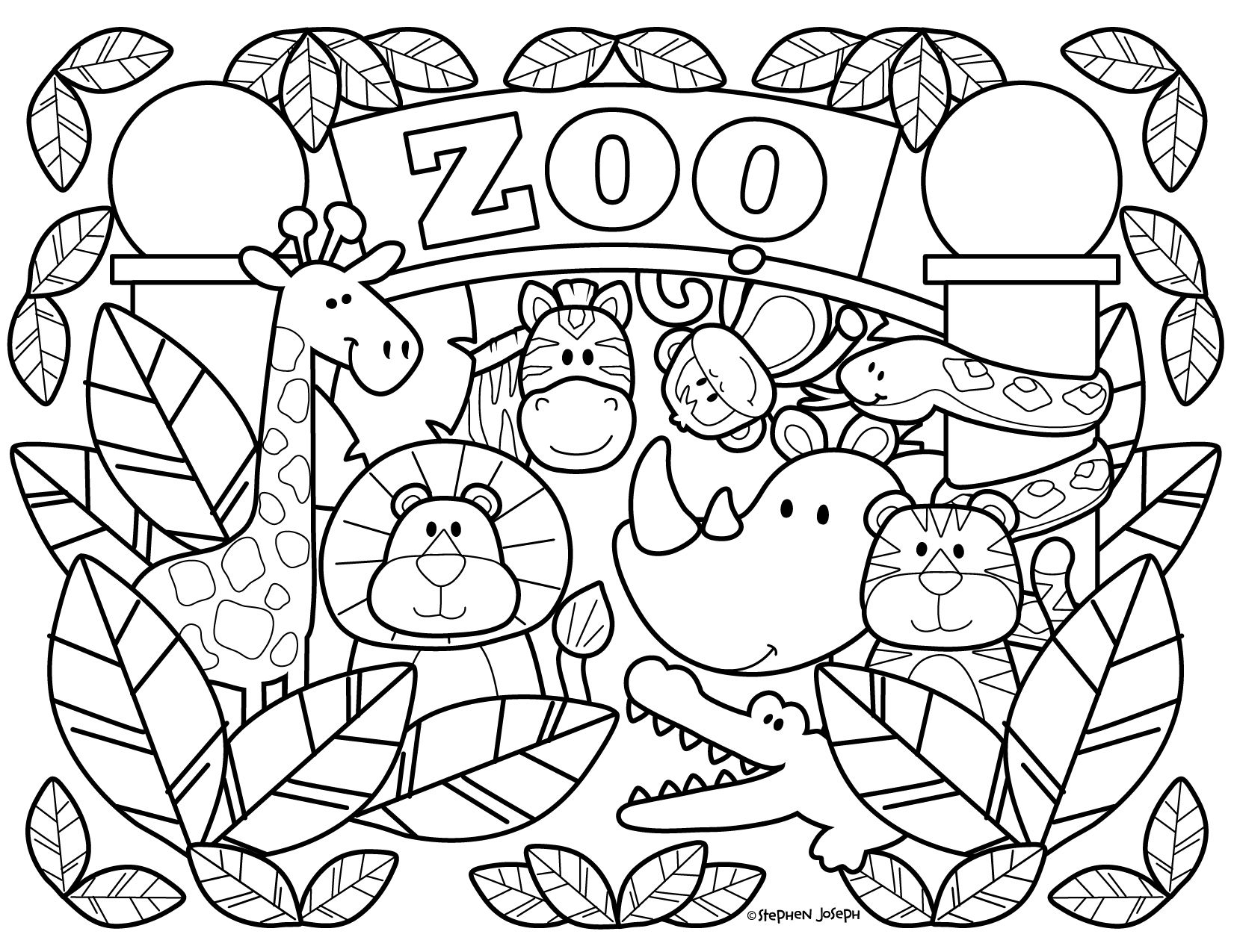 Zoo Coloring Pages - Printable & Free! By Stephen Joseph ... | free printable colouring pages zoo animals