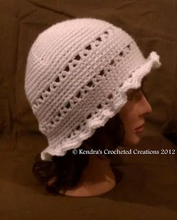 Kendras Crocheted Creations: Vintage white hat with ruffled brim
