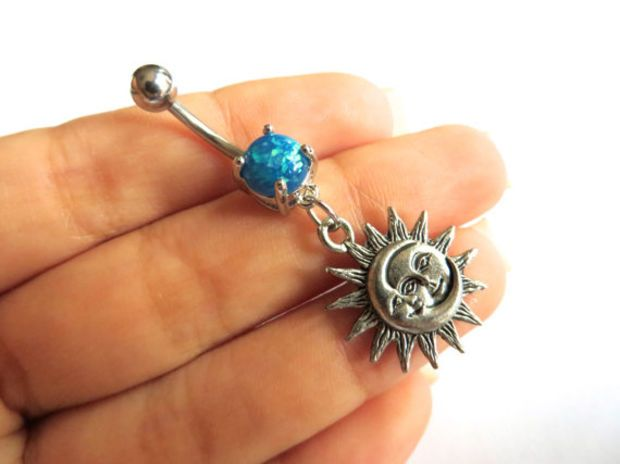 Opal Sun Belly Button Ring Jewelry Faux Opal Sun And Moon Celestial